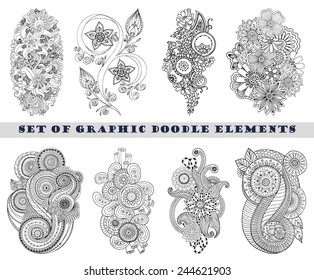 Set of Henna Paisley Mehndi Doodles Abstract Floral Vector Illustration Design Element. Black and White plus Colored Version.