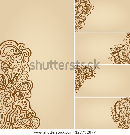 Set henna tattoo floral banners business stock vector royalty free set of henna tattoo floral banners and business card templates cheaphphosting Images