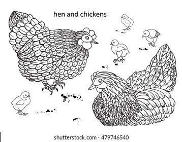 Set of hens and chickens.. Hand-drawn doodle contour Vector illustration