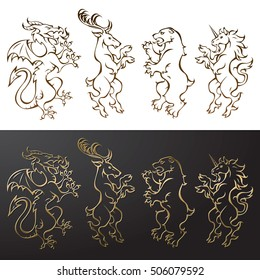 Set of heraldic animals 2: dragon, deer, bear, unicorn
