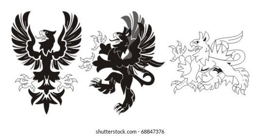 Set of heraldic birds