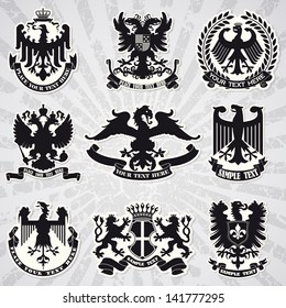 Set of heraldic coats of arms