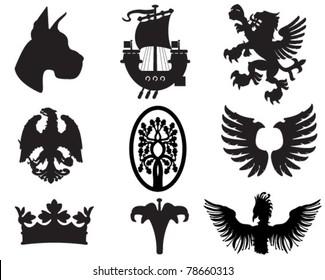 Set of heraldic elements useful for combining