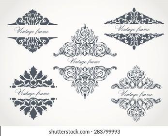Set of heraldic flourish patterns for your vintage design. Vintage frame