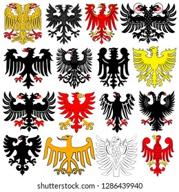 d36d86ec0 Set of heraldic german double-headed eagles. Vector illustration from the
