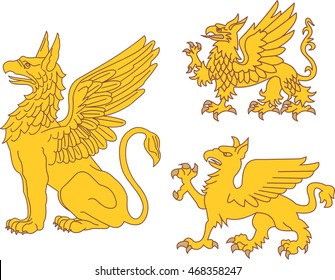 Set of heraldic griffins. Vector illustrations.