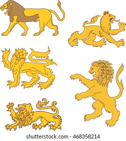 Set of heraldic lions. Vector illustrations.