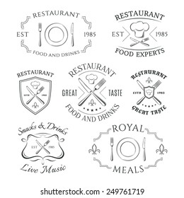 Set of heraldic restaurant logos, labels and badges. Vector illustration