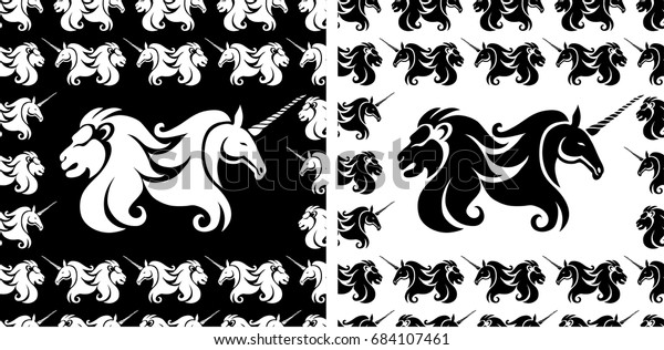 Set Heraldic Symbols Patterns Lion Unicorn Stock Vector