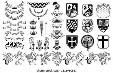 Set of Heraldic Vector Elements. Heraldic Animals Set.