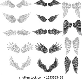 Set of heraldic wings in black and white