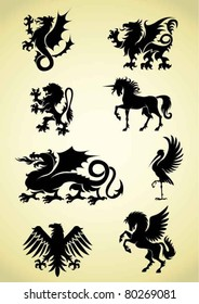 Set of heraldry mythological animals