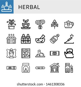 Set of herbal icons such as Massage, Herb, Herbal tea, Aromatic, Parsley, Teapot, Sauna, Essential oils, Mortar, Essential oil, Incense, Spa, Beauty, Lithotherapy, Mint , herbal