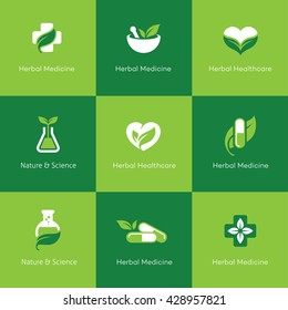 Set of herbal medicine icons with leaves in green and white colors. Can be used for science, pharmacy, homeopathy, alternative medicine, medical research, organic or natural concept logo design