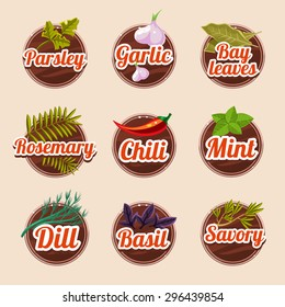 Set of herbs and spices on a wooden board
