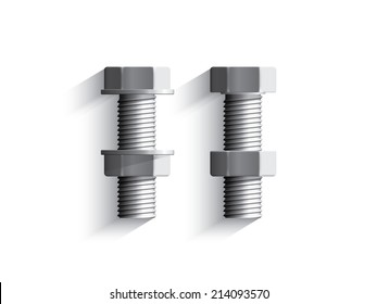 Set of hexagon head bolts, nut and washers on white background