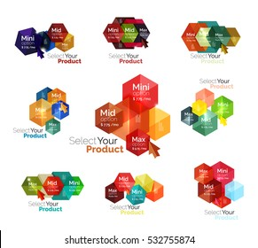 Set of hexagon navigation option diagrams. Vector business brochure or flyer element, presentation and web design navigation layout