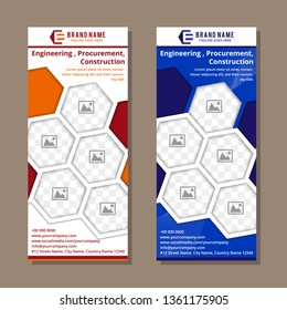 set hexagon roll up business banner design vertical template vector, cover presentation abstract geometric background, modern publication display and flag-banner, layout in rectangle. photo collage