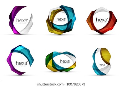 Set of hexagon shape business emblems. Vector techno clean professinal color icons