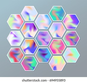 Set of hexagonal holographic stickers with abstract texture. Background of hexagons. Vector pattern with retro design.