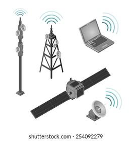 A set of hi tech communication Icons. Communication Icons.  hi tech wireless communication set.