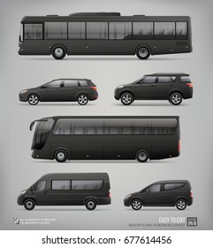 Set of hi-detailed Passenger City Transport - Mockup template for Corporate identity and Advertising design. Set of black passenger bus, Black Van, Freight Car, Coach Bus, Station wagon Car, Suv