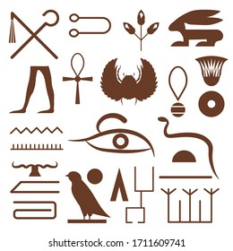 Set of hieroglyphs and symbols from Ancient Egypt. Egyptian writing system elements and hieroglyphic scripts depicting animals, ankh cross, jewelery, walking legs, scarab beetle and different shapes.