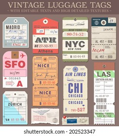 A set of high detail grunge Passport and Luggage Tags, Tickets and stamps. Vector file is EPS v.10. Transparency effects are present. Vector file is organized with layers.