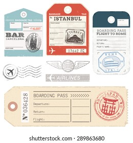 A set of high detail grunge Passport and Luggage Tags, Tickets and stamps.