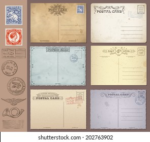 A set of high detail grunge Vintage Postcards and Stamps. Vector file is EPS v.10. Transparency effects are present. Vector file is organized with layers.