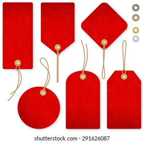A set of high detail red grunge Vector Price Tags