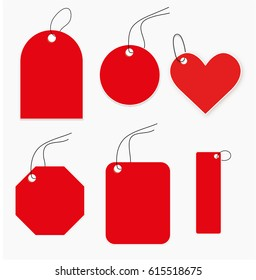 set of high detail red Vector Price Tags