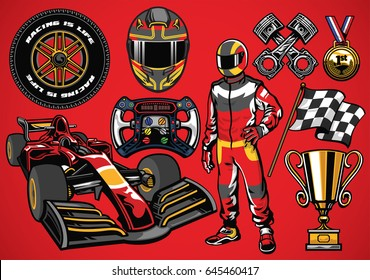 Set of high detailed formula racing car element