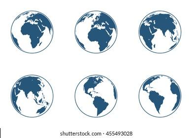 Set of high detailed globes. Vector illustration.