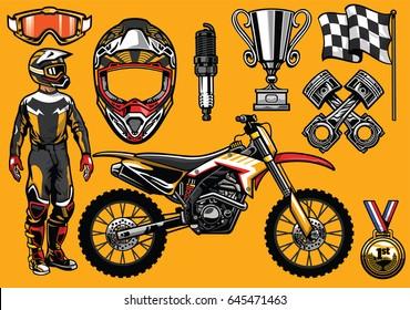 Set of high detailed motocross racing element
