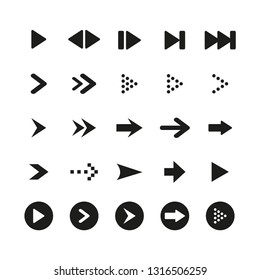 A set of high quality black arrow sign and symbol on white background. Vector illustration, Arrow icon set