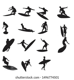 A set of high quality detailed silhouettes of a surfer surfing the waves on his surfboard