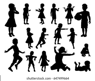 A set of high quality detailed silhouettes of kids or children in various poses
