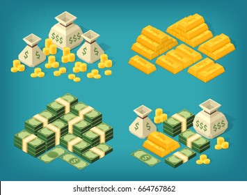 Set of high quality isometric money stacks. Bundles of banknotes, coin sacks, gold bars. Eps10 Vector.