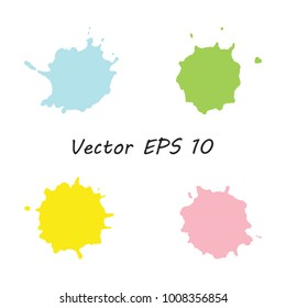 Set of high quality traced stains, paint blots, ink splashes, grunge drops, brush strokes, isolated on the white background. Vector 8 EPS elements for your design.
