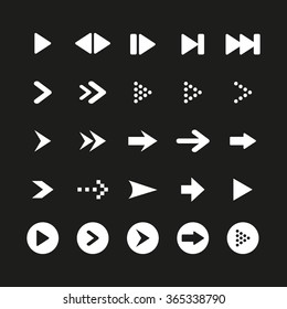A set of high quality white arrow sign and symbol on black background. Vector illustration