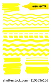 Set of highlighter brush hand drawn elements. Yellow scribbled box with wavy lines, solid stripes and sketchy dashed strokes hand drawings with highlight marker. Vector illustration text memo design.