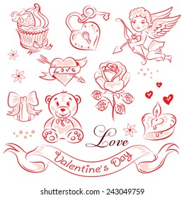 A set of high-quality vector clip-art on the theme of Valentine's Day.