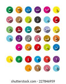 set hijaiyah arabic font alphabet number character