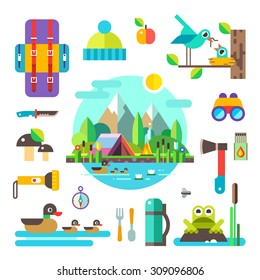 Set of hike elements and icons: backpack, binoculars, knife, compass, axe, torch, tent. Camping objects. Birds, ducks, frog, mushrooms, nest. Landscape: forest, lake, swamp and mountains. Style flat.