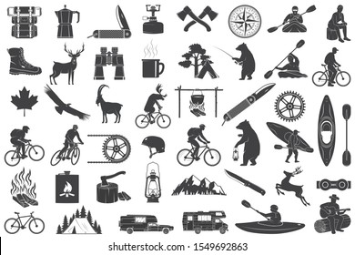 Set of Hiking and Camping icons isolated on the white background. Vector. Set include fishing bear, mountains, knife, tent, cup, coffee, goat, gas stove, water sports equipment, forest silhouette