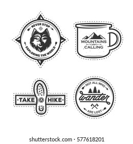 Set of hiking labels with motivational quotes. Mountains are calling. Take a hike. Never stop exploring. Outdoor activity badges. Boot print. Vector vintage illustration.