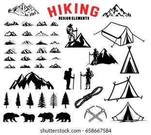 Set of hiking, outdoor, mountains design elements. Bears, trees, mountains, tents. Design elements for logo, label, emblem, sign, poster. Vector illustration
