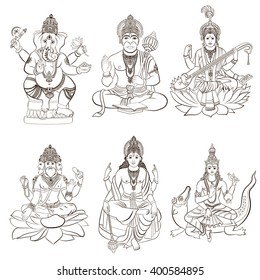 Set of Hindu gods and godness. Ganesha, Hanuman, Saraswati, Brahma, Vishnu, Varuna. Vector illustration.
