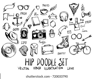 Set of Hip doodle illustration Hand drawn Sketch line vector